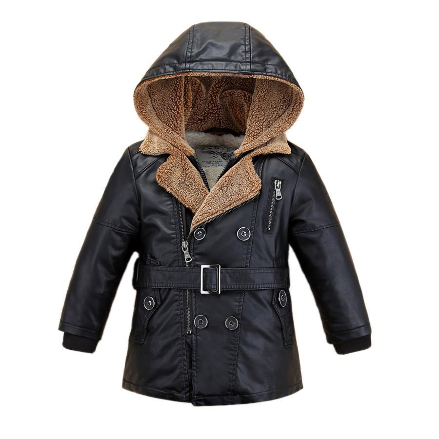 kids jacket coat gentleman fur leather jacket coat for 1-14yrs children students boys girls hooded leather outerwear jacket coat