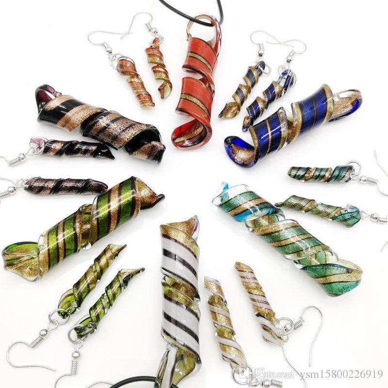 شحن مجاني بالجملة 6 مجموعات دوامة زجاج lampwork قلادة قلادة أقراط مجموعة ، الأزياء والمجوهرات مجموعات هناك ستة ألوان المتاحة
