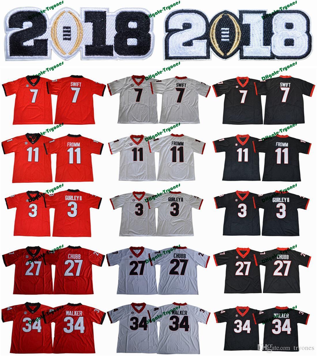 2018 Georgia Bulldogs 11 Jake Fromm 7 D'Andre Swift 27 Nick Chubb 34 Herschel Walker 3 Todd Gurley II New College Football Jersey