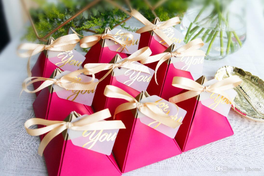 50 Stücke Neue Kreative Rose Red Pralinenschachtel Hochzeit Gefälligkeiten Partei Liefert Bomboniere Dank Geschenk Schokolade Box Paket