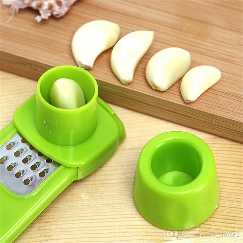 Multifuncional plástico e aço inoxidável Garlic Press Mini Ginger Grinding Grater Alho Crusher Peeler Imprensa Grater Slicer Cortador