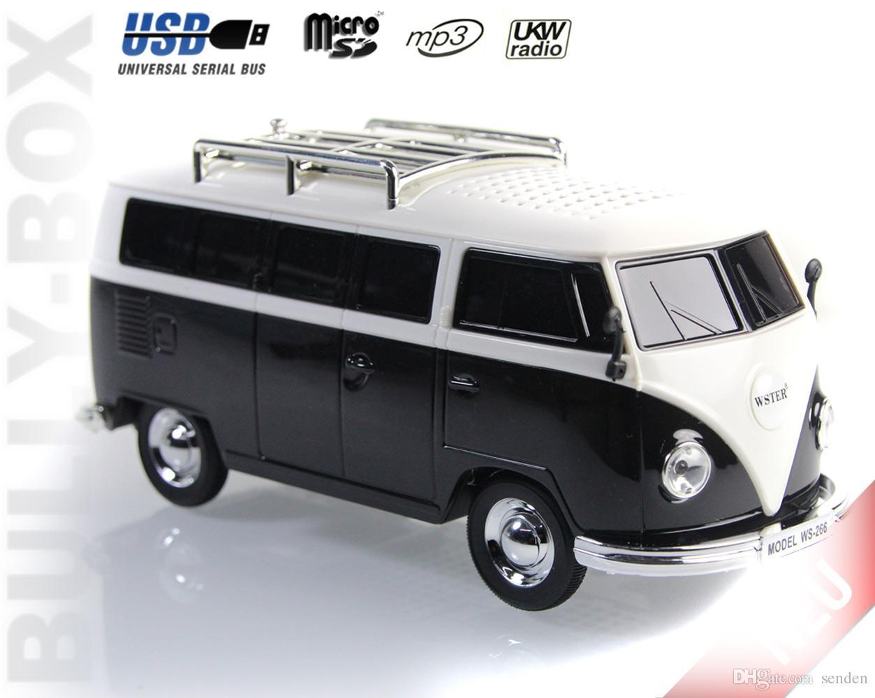 New Bus WS-266BT Colorful bluetooth mini speaker car shaped mini wireless bus cartoon speaker sound box MP3+U disk+TF+FM function+bluetooth