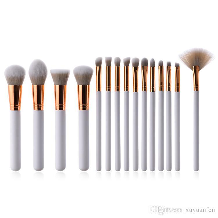 15 pcs Maquillage Brush Set Blanc Fondation Blush Poudre Mélange Sourcils Cosmétique Make Up Brosses Fard À Paupières Fan Surligneur Brosse Outils