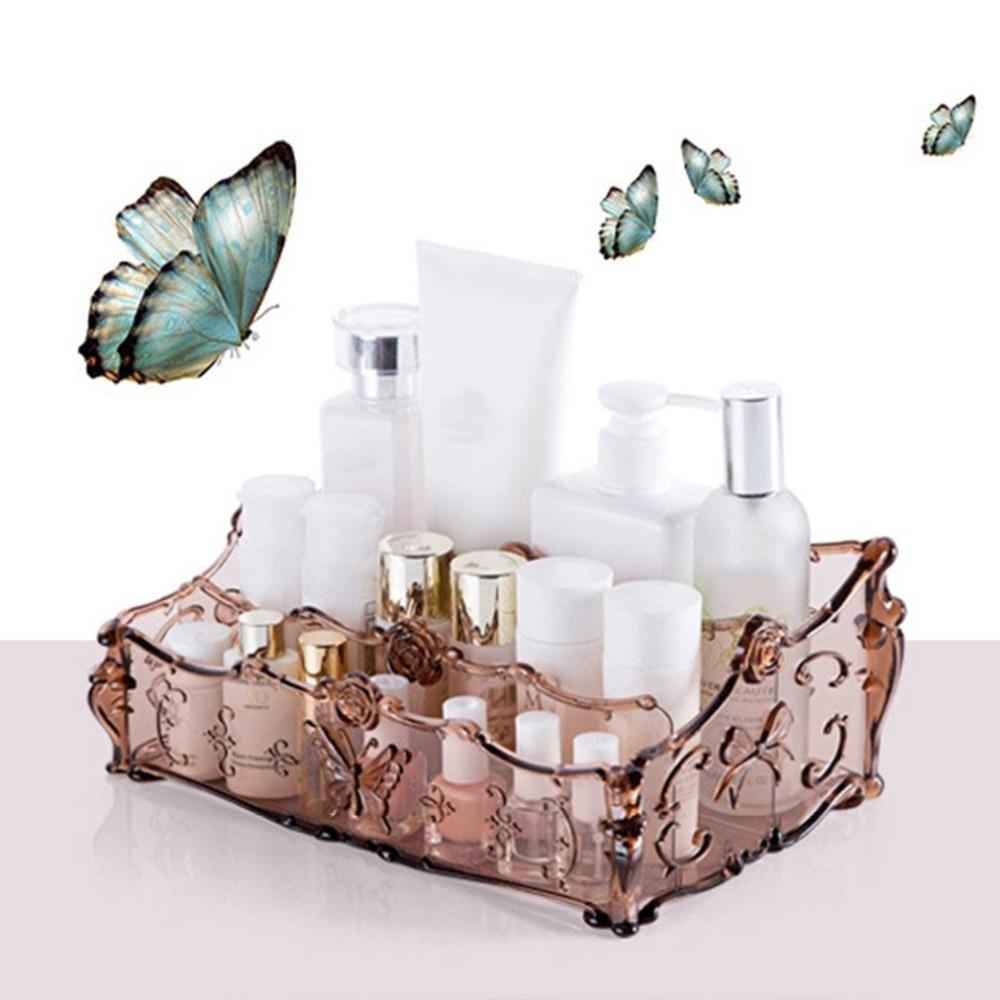3 Ranura Acrílico Organizador de Maquillaje Cosméticos Caja de Almacenamiento de Maquillaje Cajas para Almacenamiento de Baño Accesorios de Escritorio OrganizadorHot
