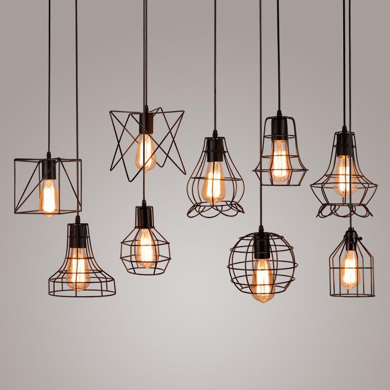 Gaiola preta moderna luzes pingente de ferro minimalista retro loft pirâmide lâmpada de metal Pendurado Lâmpada E27 Interior