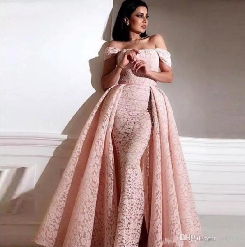 Compre Vestidos De Fiesta Elegantes De Noche 2019 Sirena De Encaje Rosa Vestidos De Baile Con Tren Desmontable Tubai árabe Vestidos De Noche Largos