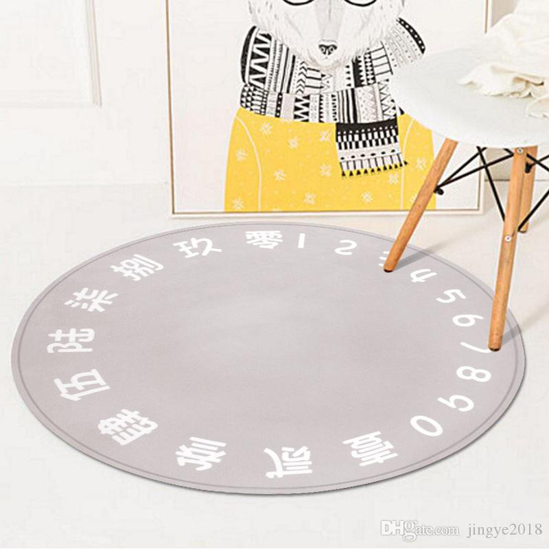 150*150cm Round Rug,European and American Style,Polyester Anti-slip Carpets,Perfect for Bedroom Study Parlor Floor and Children Crawling Mat