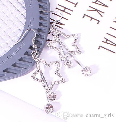 новая горячая мода длинный стиль воды дрель звезда кулон звезда Стад преувеличены бахромой серьги ювелирные изделия мода классический изысканный