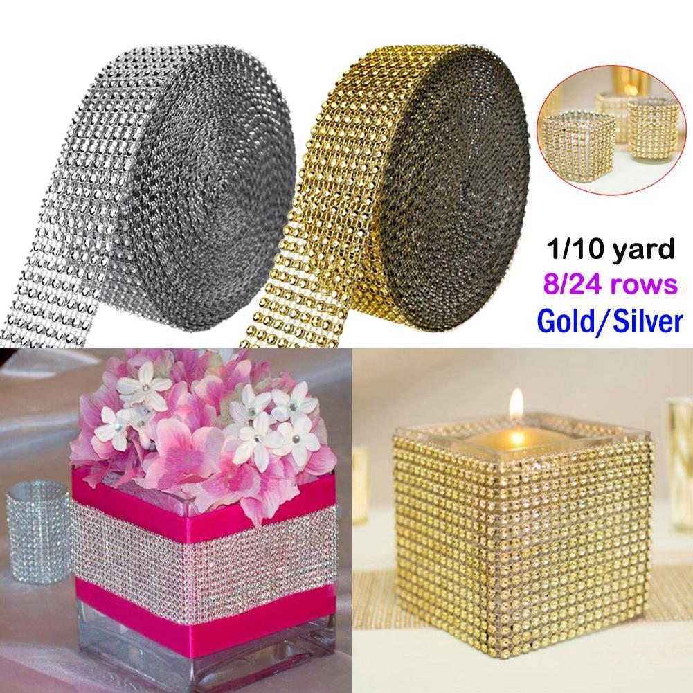 1 Yard/Roll Gold Silver Diamond Mesh Party Xmas Decoration Trim Wrap Roll Sparkle Rhinestone Crystal Bling Cake Ribbon