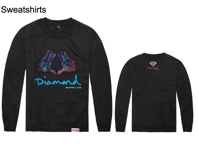 다이아몬드 공급 스웨터 시원한 거리 스포츠 티셔츠 패션 브랜드 이름 힙합 까마귀, 긴 반소매 o 목 캐주얼 남성 파커