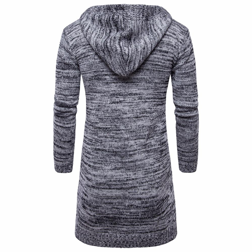 NEW Designed Men Sweater Long Cardigan for Man Hooded Sweater Outer Wear Coat Knit Sweaters So Cool 2 Colors Available