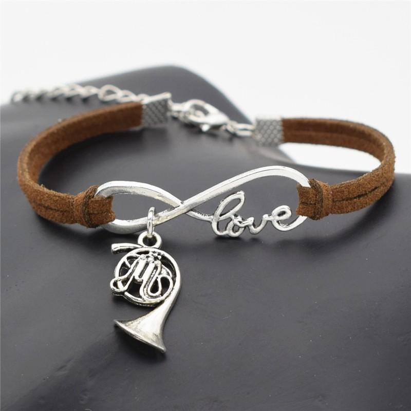 Infinito Amor Música trompa Múltiples Capas joyería pulseras de cuero oscuro de Brown de los hombres clásicos encantos de la cadena de la cuerda de los brazaletes para las mujeres Brazalete