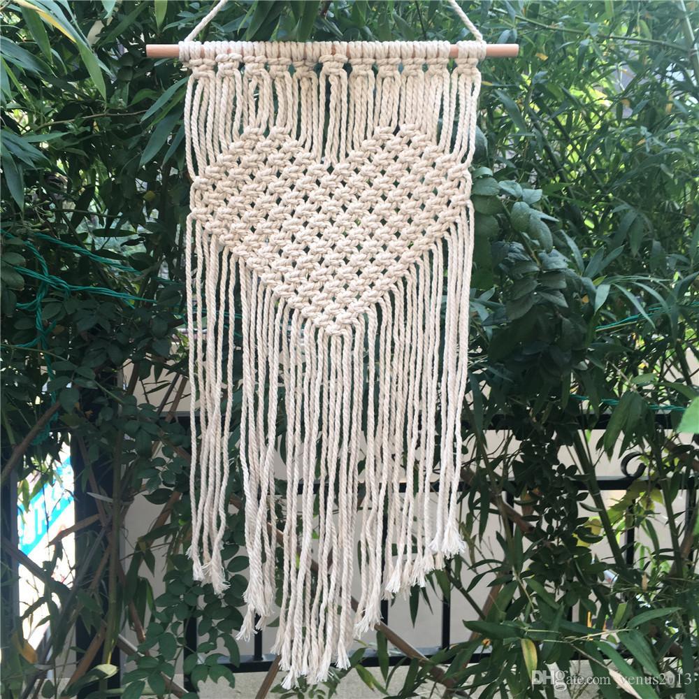 보헤미안 태피스트리 홈 메이드 벽 장식 장식 용품 핫 하트 패턴 태피스 트리 뜨개질 수제 뜨개질