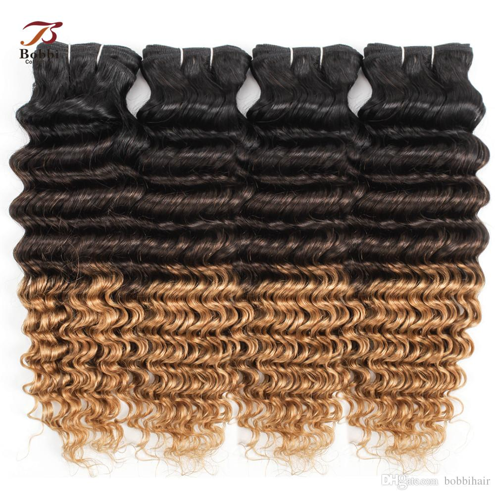 1B/4/27 Ombre Blonde Deep Wave Human Hair Bundles Three Tone Color 3/4 Pieces 12-24 inch Brazilian Remy Human Hair Extensions