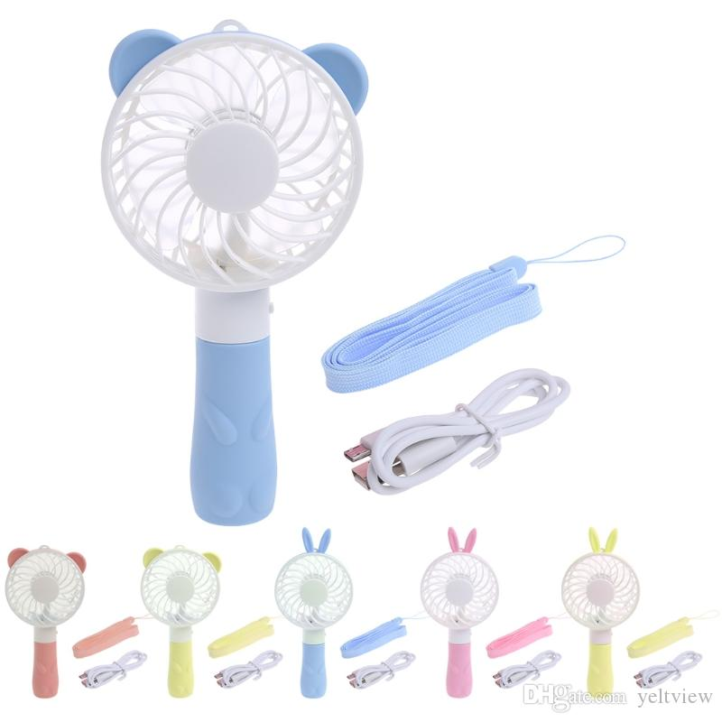 Oso de Conejo Mini Ventilador Portátil de Dibujos Animados Ventilador de Ventilador Portátil Recargable USB para el Ministerio del Interior al aire libre Regalo de Los Niños