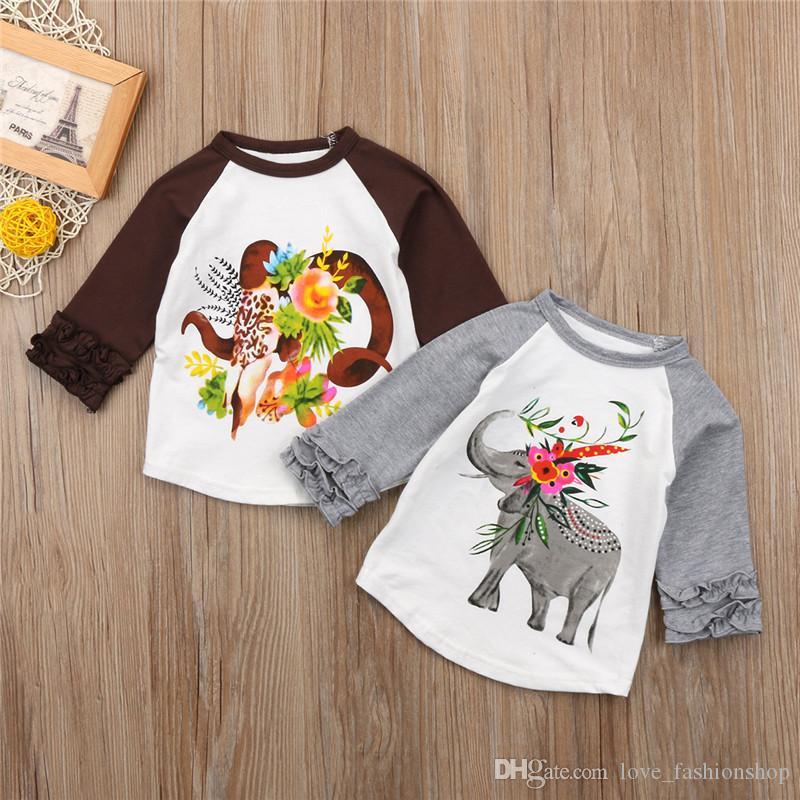 هالوين الطفل بنين بنات الفيل زهرة مطبوعة بلايز الاطفال طويلة الأكمام المحملات الدبابات قمم مصمم ملابس الأطفال تأثيري ازياء القماش
