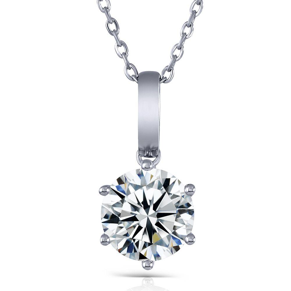 Transgems 18K الذهب الأبيض 3.0 مختبر نمت مويسانيتي قلادة شريحة الماس الماس الصلبة 18K الذهب الأبيض للمرأة