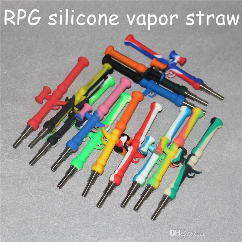Silicone Nectar Collector Kit with 10mm GR2 Titanium Tip Dab Straw Rig Silicone Bongs Hand Pipe Oil Concentrate Smoke Pipe Vapor Straw