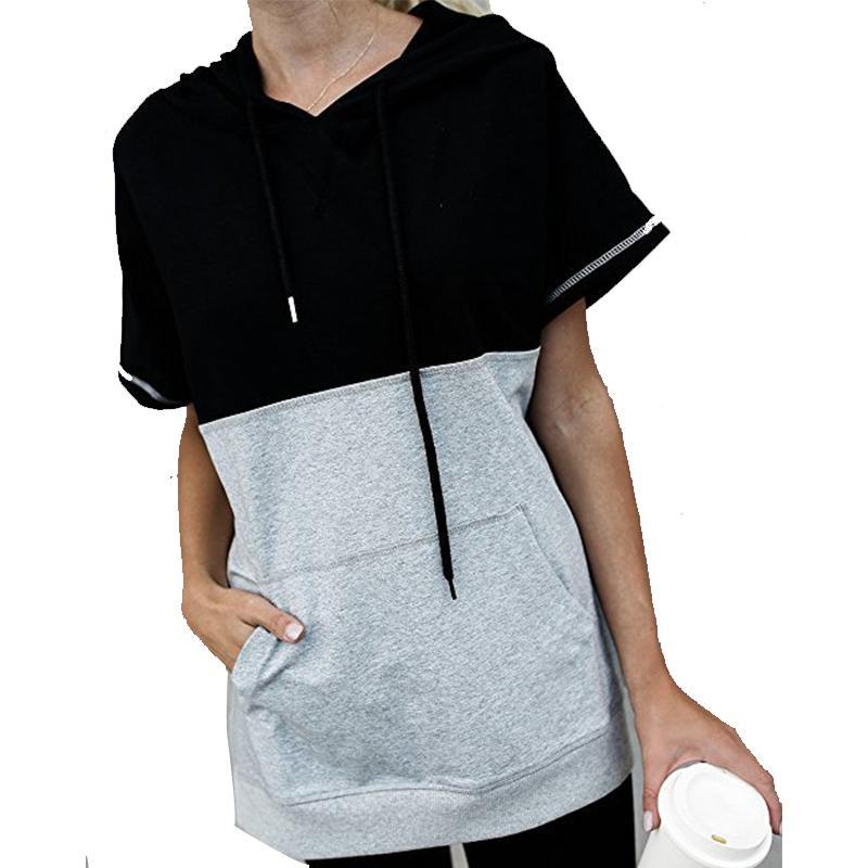 GUMPRUN женщины лето Drawstring лоскутное толстовки случайные свободные короткие рукава футболка сращивание карманные пуловеры толстовка 2018 S18101006