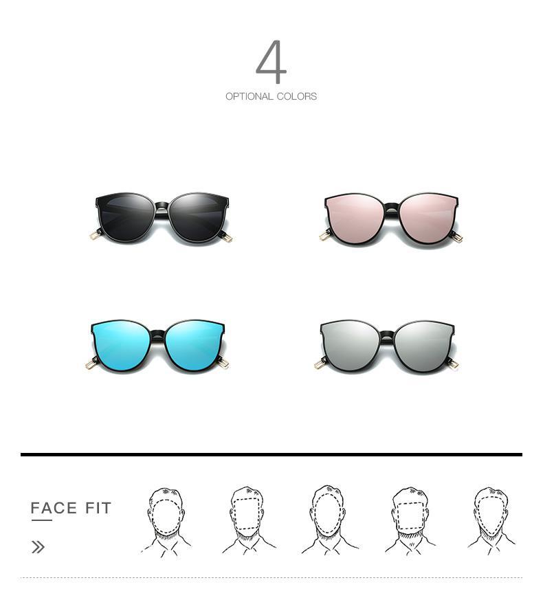 2018 Fashion High quality Women Colour Luxury Flat Top Cat Eye Sunglasses Elegant oculos de sol men Twin Beam oversized Sun glasses UV400