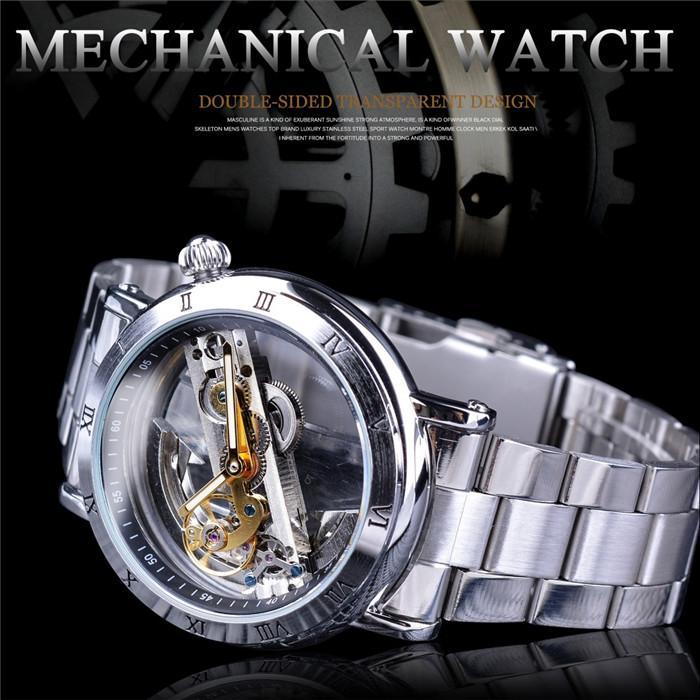 Forsining Double Side Trasparente Tourbillon Silver Case Mechanical Steampunk Skeleton Clock Orologio meccanico creativo