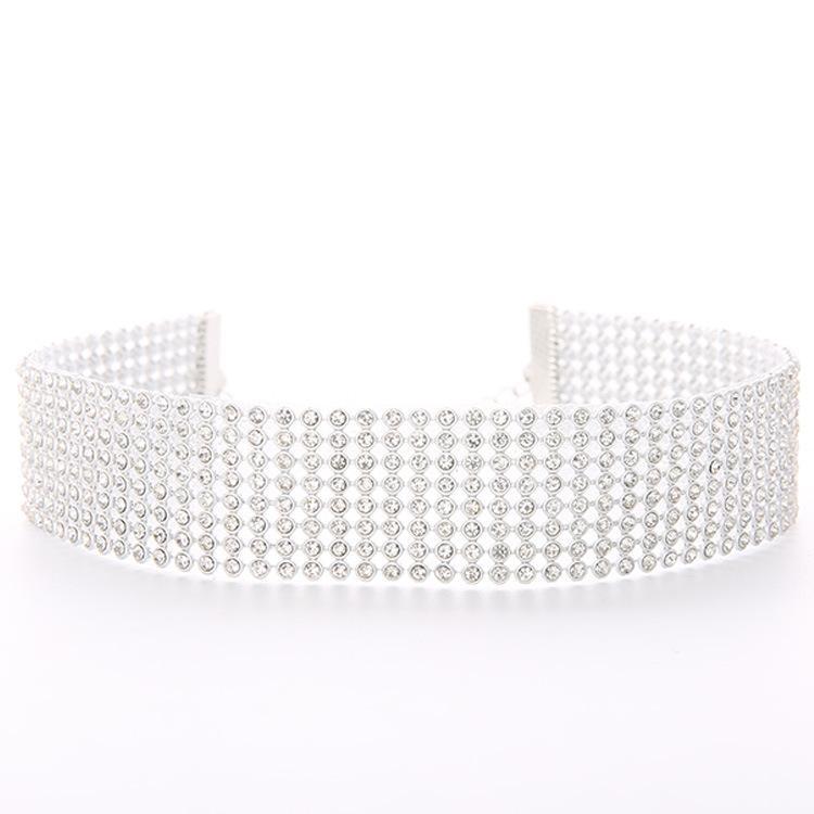 Collana girocollo Collares Elegante largo strass girocollo Dichiarazione gioielli pavé di strass di cristallo Collana girocollo