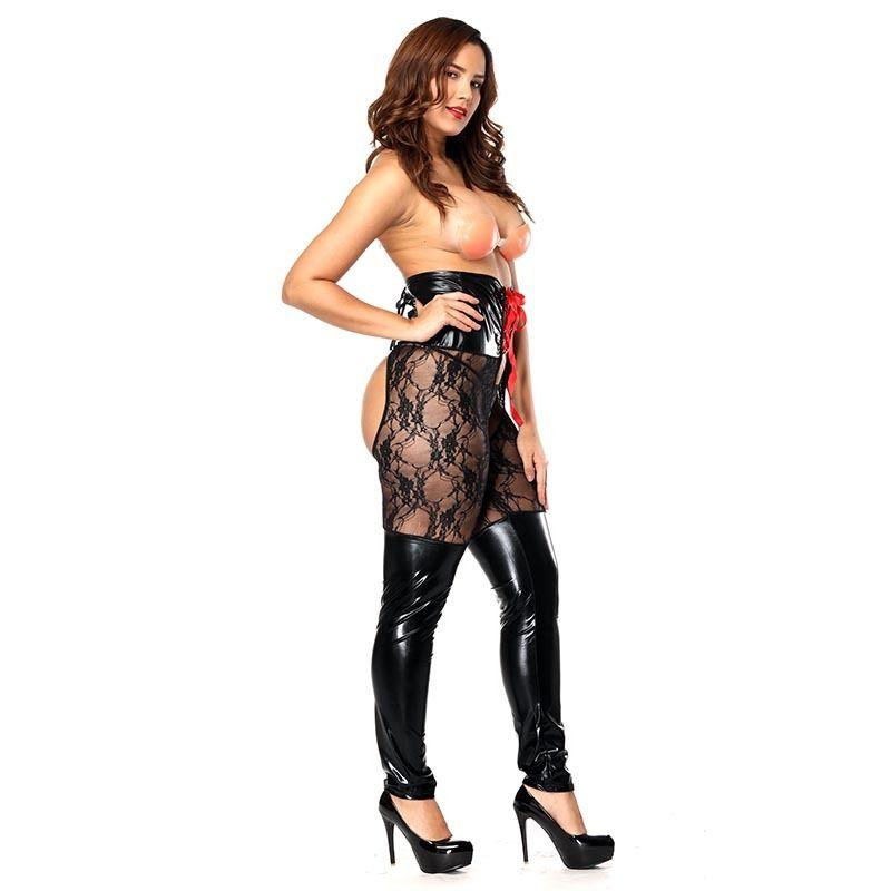 Sexy pizzo cavallo aperto pantaloni calza nero crotchless coscia alta calze per le donne erotismo collant plus size Y18102206
