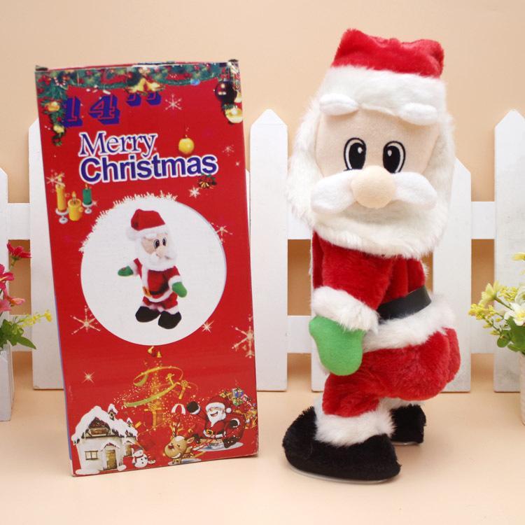 Встряхните бедра Санта может петь и танцевать плюшевые электрические куклы игрушки рождественские украшения подарки