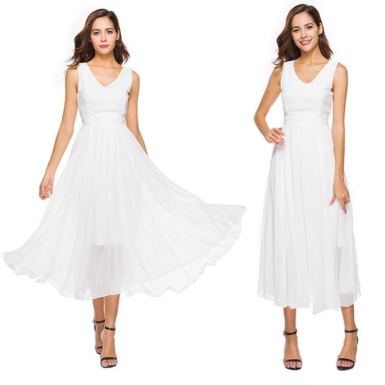 Vestidos formales para las mujeres Con cuello en v Big Swing Vestidos largos de gasa blanca para el baile 2018 Vestido de fiesta