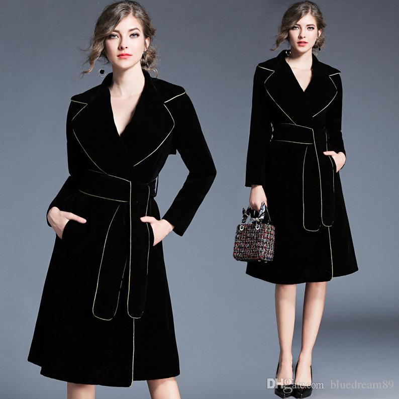 Fashion women winter coats Golden striped suit collar designer luxury clothes woman velvet trench coat windbreaker mujer abrigos de invierno