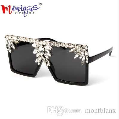 Gafas de sol cuadradas de gran tamaño Mujeres Gafas de sol de lujo Rhinestone Diseñador de la marca Moda Vintage Gafas Gafas Gafas de sol