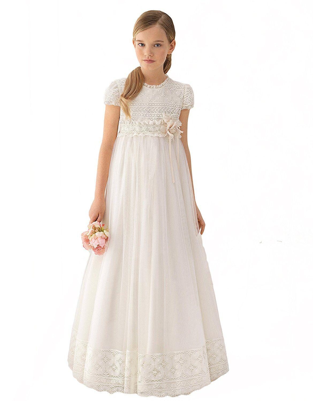 New Flower Girls Ivory Chiffon Dress Pageant Wedding Birthday Party Formal Fancy