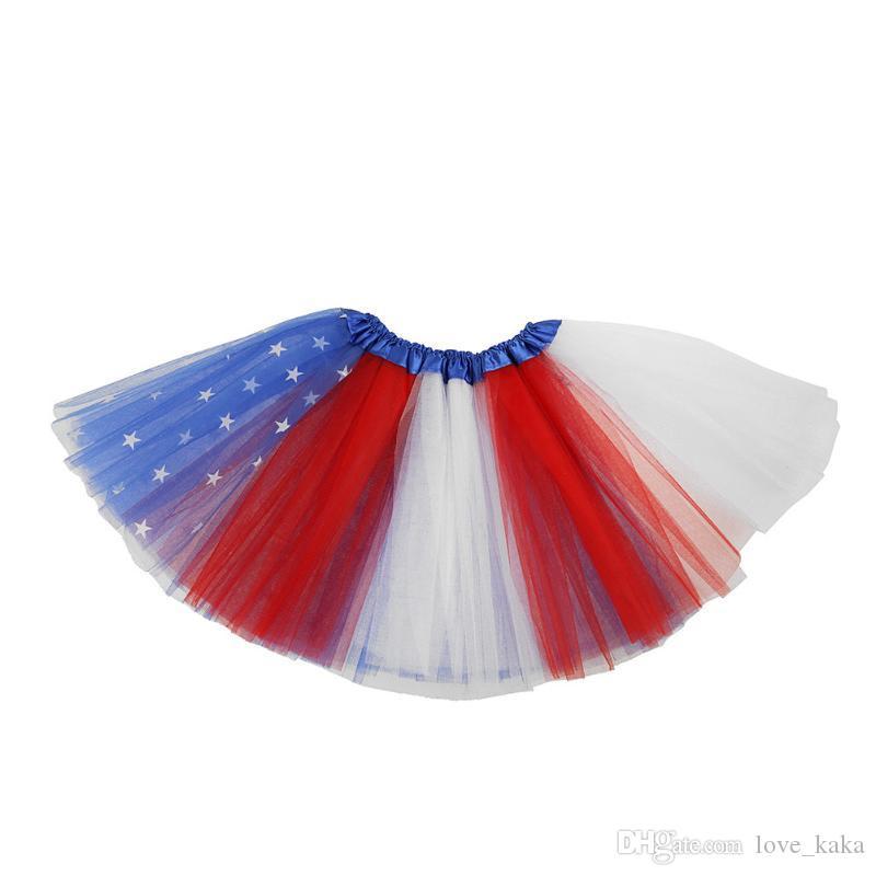 새 판매 어린이 소녀 옷 투투 스커트 다채로운 미국 깃발 생일 파티 댄스 공주 투투 스커트 아기 소녀 옷