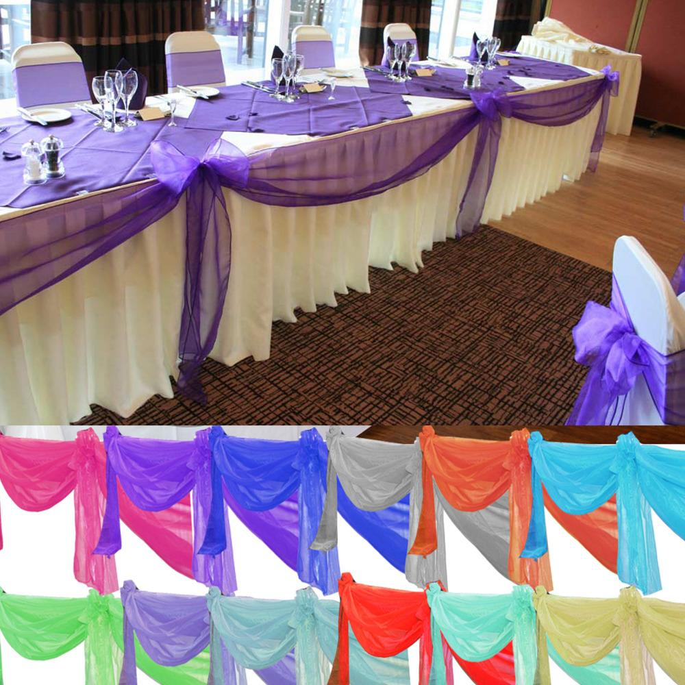 Nuovo design Royal Blue 10m * 1 .35m Organza puro Swag tessuto Wedding feste decorazioni Tessile per la casa vicino con alto Qualit