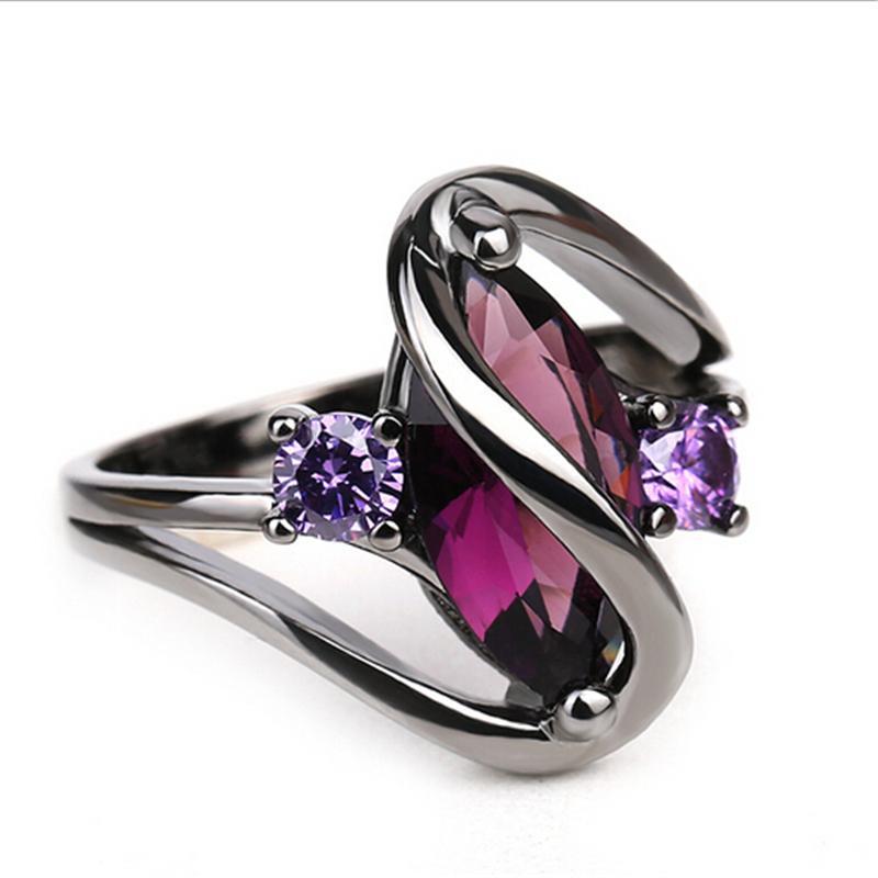 Hot Moda de Luxo Do Vintage Roxo Zircão Cristal Anéis Coloridos Para As Mulheres da Jóia Do Casamento anéis de aço inoxidável