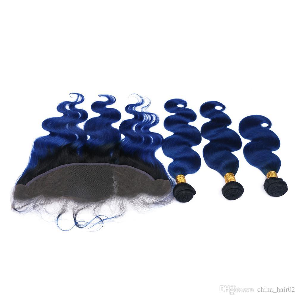بيرو الظلام الأزرق أومبير لحمة الشعر البشري مع الدانتيل أمامي إغلاق 13x4 الجسم موجة # 1b / الأزرق الداكن الجذر أومبير العذراء الشعر نسج حزم