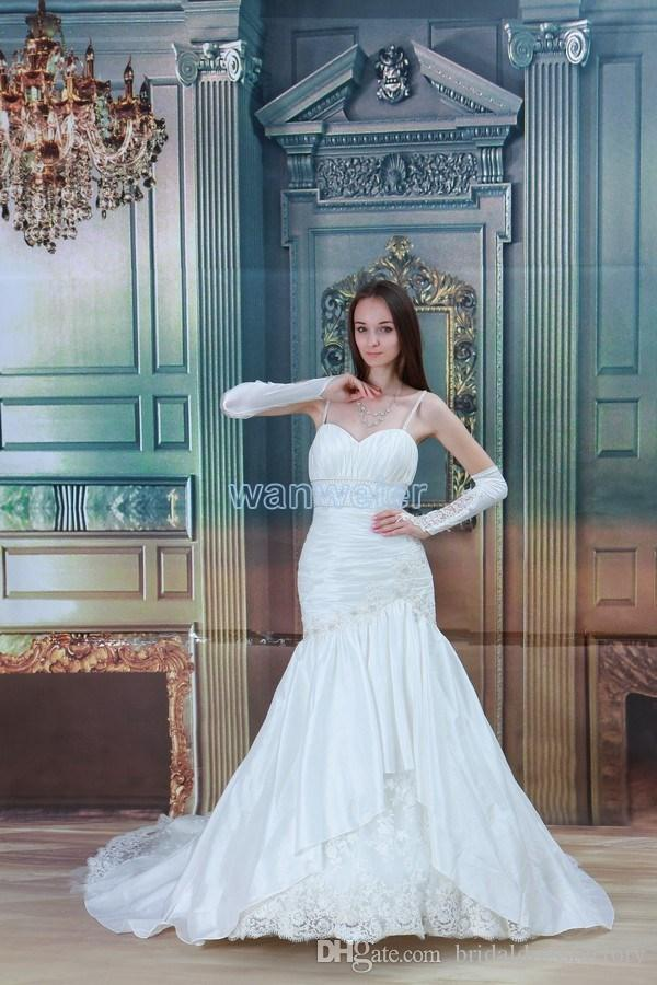 free shipping 2018 new design hot small train lace up mermaid white/ivory straps custom size/color bridal dress wedding dress