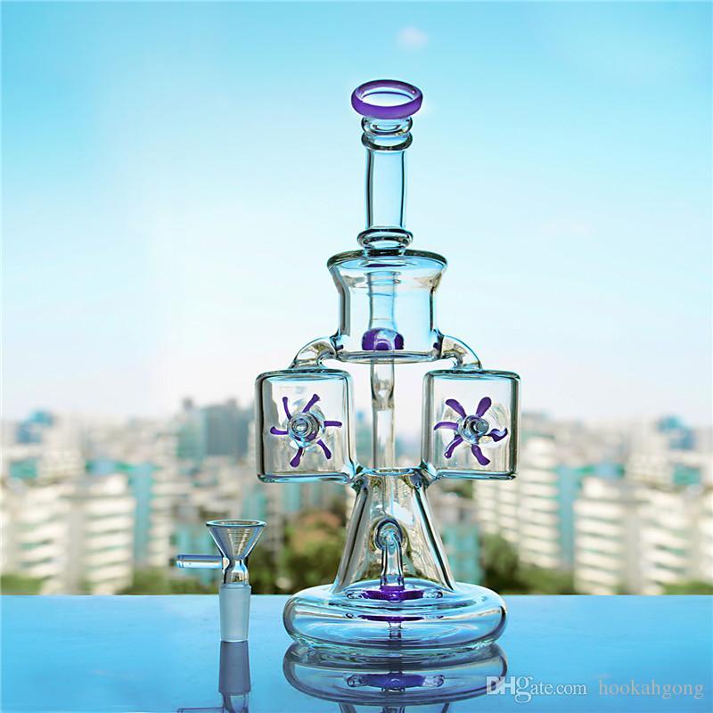 Recién llegado de color Waterwheel Perc Recycler Glass Bong Water Pipe Dab Rig Hookah Tobacco Pipe 14MM Envío gratis