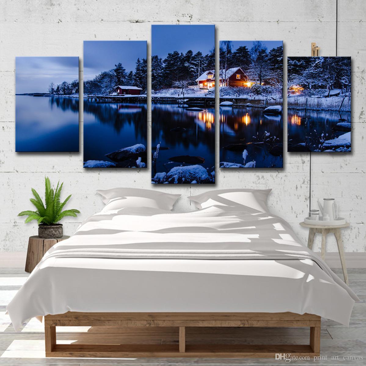 Moderne Leinwand HD Prints Gemälde Home Decor Bilder 5 Stück Haus Schnee See Nacht Landschaft Poster Wohnzimmer Wandkunst
