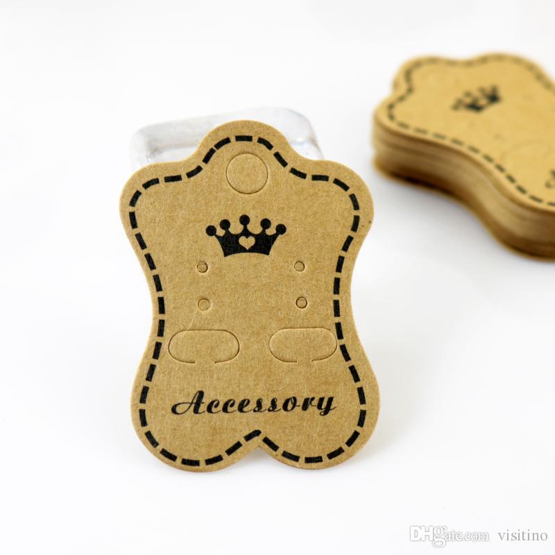 الجملة 200 قطعة / الوحدة براون مجوهرات عرض بطاقة التعبئة بطاقة ولي تصميم ورقة صالح لل حلق التعبئة شحن مجاني