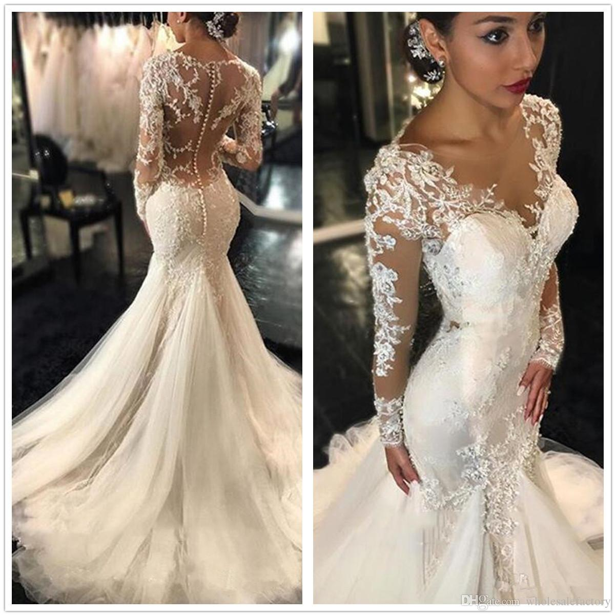 2018 Sheer Long Sleeves Lace Mermaid Wedding Dresses Applique Beaded Sheer Back Court Train Wedding Bridal Gowns With Buttons Tea Length Dresses
