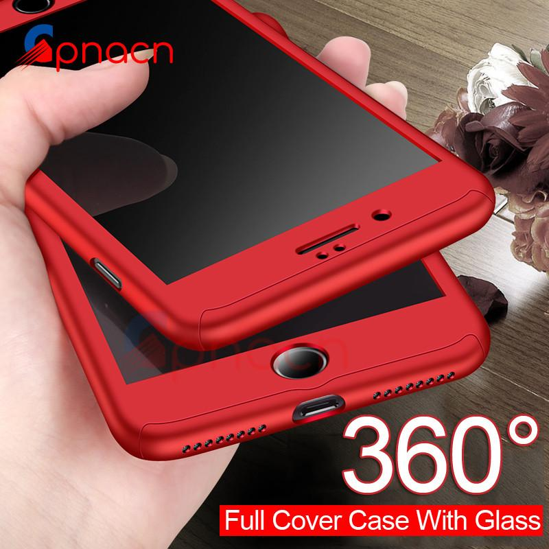 360 Degree Full Cover Case For iPhone 8 7 Plus Case 6 6s with Tempered Glass Cover For iphone 8 7 6 6s