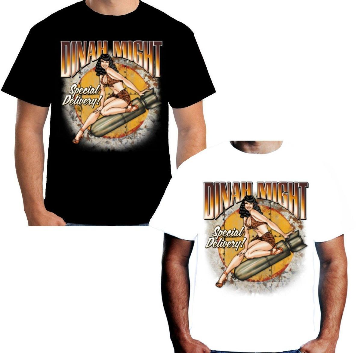 Velocitee Ladies Long Sleeve T-Shirt Dinah Might WW2 Pin Up Rockabilly W15058