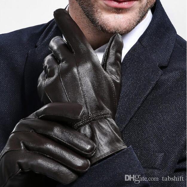 أزياء رجالي قفازات قفازات جلدية الرجال الشتاء الجلد الدافئة و الصوف سميكة الكلاسيكية ثلاثة الأوتار قفازات الشتاء الدافئ