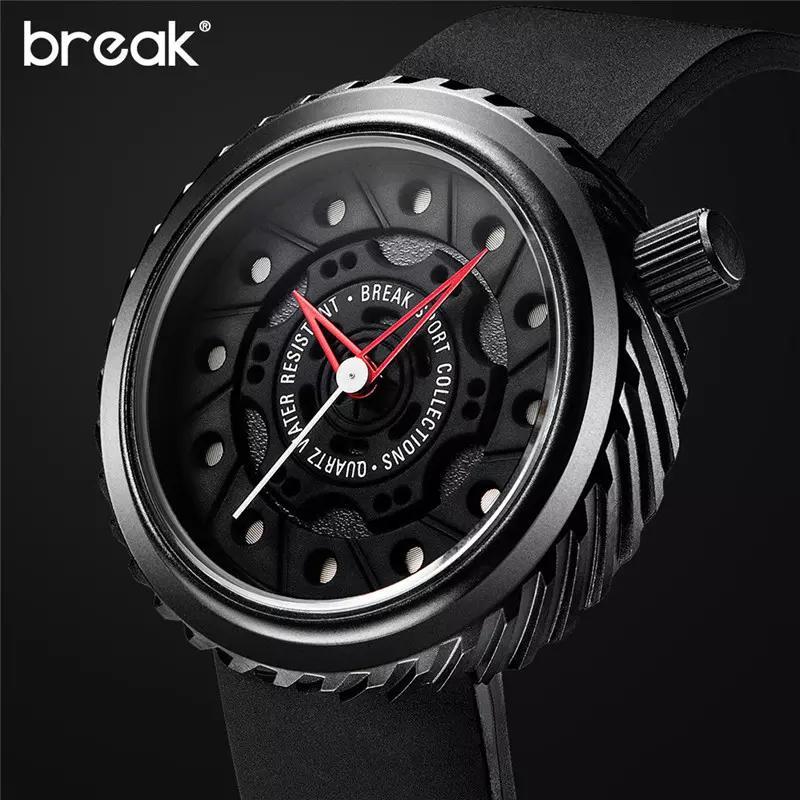 BREAK Mens Watches Top Brand Luxury Sport Watch Japan MIYOTA Silicone Strap Clock Men Quartz Watches Casual Creative Wristwatch