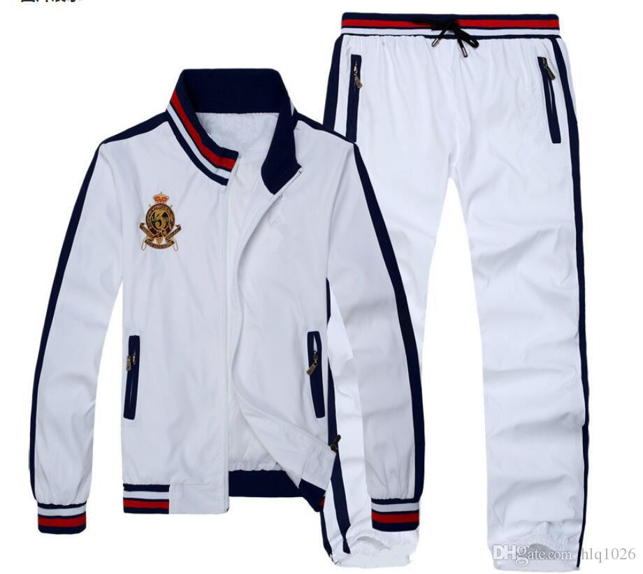 패션 남자 스포츠 정장 스웨터 남성 Tracksuit 세트 스웨터 새로운 가을 겨울 스탠드 칼라 캐주얼 3 색