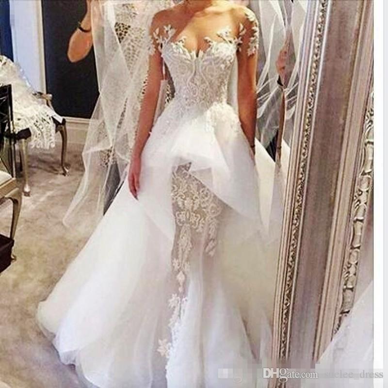 2018 Vintage abito da sposa sexy maniche lunghe peplo gioiello gioiello puro collo appliqued abito da sposa in organza bohomian vestito da sposa