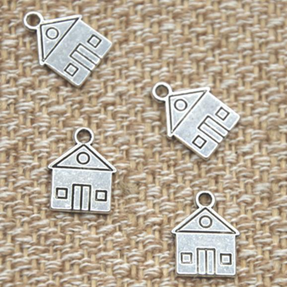 25pcs House charms Antique silver tone Home School House pendant 12x16mm