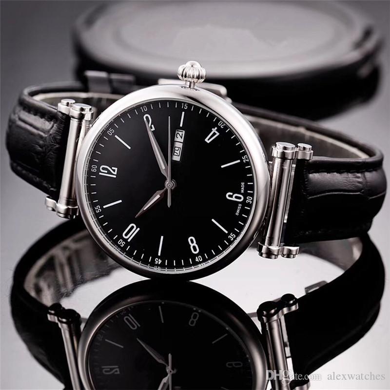 Montres en acier inoxydable avec cadran noir 42mm Montres 42mm Miyota 8215 mouvement automatique Swiss Made Classic Hommes montres V8