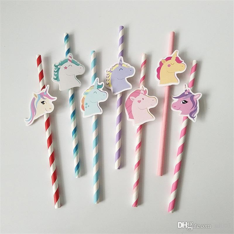Cartoon Unicorn Series Paper Drinking Straws Creative Cute Unicornio Party Bar Decorations Supplies Cocktail Juice Drink Straw 1 7tt ZZ